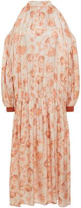 Mother of Pearl Cold-shoulder Floral-print Hammered-satin Midi Dress