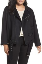 MICHAEL Michael Kors Plus Size Women's Wool Blend Moto Jacket
