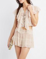 Charlotte Russe Printed Ruffle Lace-Up Crop Top