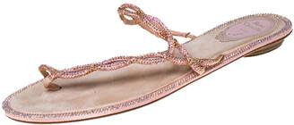 Rene Caovilla Pink Crystal Embellished Thong Flat Sandals Size 41