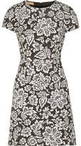 Michael Kors Floral-print Cotton And Silk-blend Matelassé Mini Dress - Black
