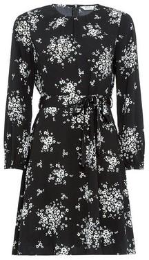 Dorothy Perkins Womens Petite Black Floral Printed Long Sleeve Dress, Black