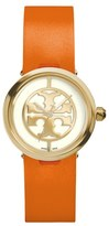 Tory Burch 'Reva' Logo Dial Leather Strap Watch, 28mm
