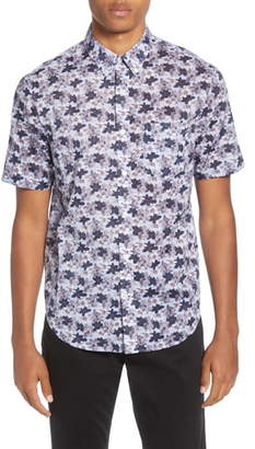 Club Monaco Baja Blossom Slim Fit Short Sleeve Button-Down Shirt