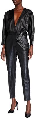 IRO Healyspe Leather Belted Jumpsuit