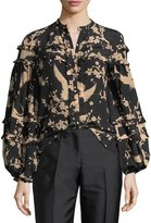 No.21 No. 21 Button-Front Printed Blouson-Sleeve Silk Blouse