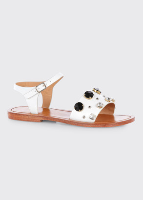 Marni Jeweled Calfskin Ankle-Strap Sandals