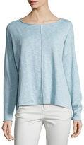 Eileen Fisher Long-Sleeve Linen-Blend Poncho Top, Petite