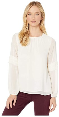 Vince Camuto Long Sleeve Chiffon Blouse w/ Pleated Sleeve Detail (Pearl Ivory) Women's Clothing