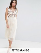 Little Mistress Petite Tulle Midi Dress With Embroidered Bodice