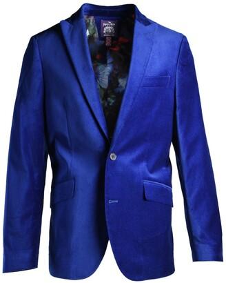 Savile Row Co Cobalt Blue Peak Lapel Slim Fit Velvet Blazer