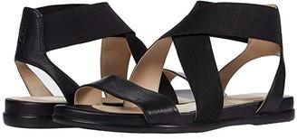 Cole Haan Grand Ambition Elastic Sandal (Black Leather/Tonal Elastic/CH Gunmetal Logo Tab) Women's Shoes