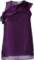 Carven diagonal pleated detail blouse - women - Silk/Polyester/Acetate - 36