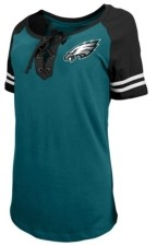 5th & Ocean Philadelphia Eagles Women's Logo Lace Up T-Shirt