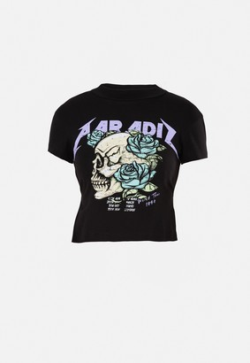 Missguided Black Paradis Skull Graphic Open Back T Shirt