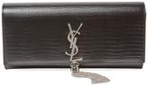 Classic Monogram Tassel Embossed Leather Clutch