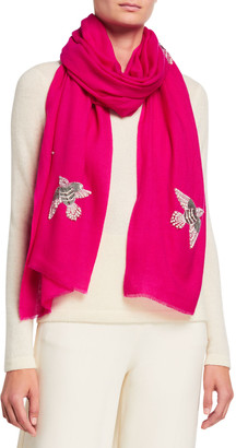 K Janavi Beaded Sparrows Merino Wool Scarf