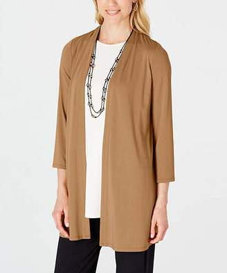 J. Jill J.Jill Women's Non-Denim Casual Jackets CAMEL - Camel Pleated-Back Wrinkle-Free Open Cardigan - Women