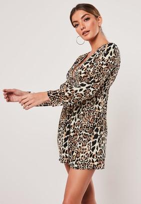 Missguided Petite Brown Leopard Print Button Through Dress