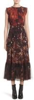 Fuzzi Women's Print Tulle Plisse Hem Midi Dress