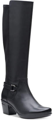 Clarks Collection Women Emslie March Leather Wide-Calf Riding Boots Women Shoes