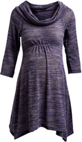 Glam Purple Space Dye Cowl Neck Maternity Sweater Tunic
