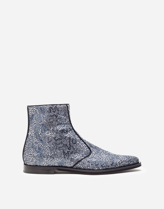 Dolce & Gabbana Two-Tone Glitter Ankle Boots