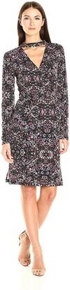 BCBGeneration Women's Long Sleeve Printed Surplice Dress