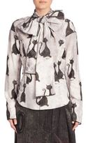 Marc Jacobs Cat Print Tie-Neck Blouse