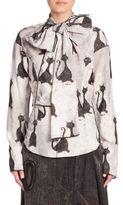 Marc Jacobs Cat Print Tie-Neck Blouse