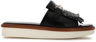 Tod's Fringed Studded Leather Platform Slides