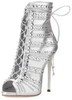 Giuseppe Zanotti Embellished Metallic Leather Peep-Toe Bootie, Silver
