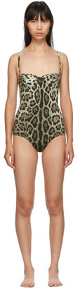 Dolce & Gabbana Tan Leopard One-Piece Swimsuit