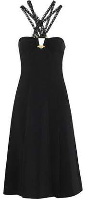 Proenza Schouler Macrame Faux Leather-trimmed Stretch-crepe Dress