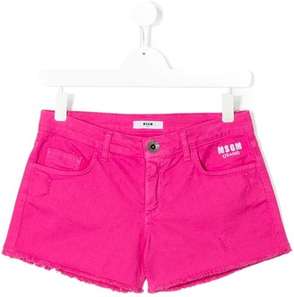 Msgm Kids TEEN low-rise branded shorts