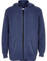 River Island Boys blue textured knit zip hoodie