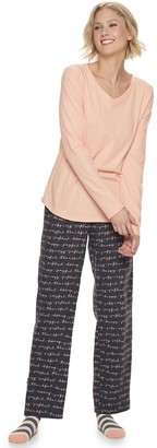 Sonoma Goods For Life Petite Knit & Flannel 3 Piece Pajama Set With Socks