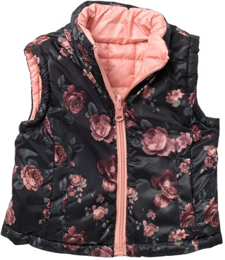 Urban Republic Floral Quilted Reversible Puffer Vest (Baby Girls)