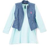 U.S. Polo Assn. Mint & White Stripe Dress & Denim Vest - Infant Toddler & Girls