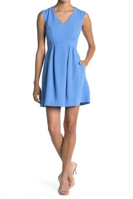 Vince Camuto Crepe V-Neck Fit & Flare Dress (Petite)