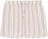 Hanro Lara Striped Voile Pajama Shorts - Off-white