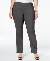 Charter Club Plus Size Cambridge Tummy-Control Check-Printed Pull-On Pants, Only at Macy's