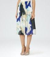Reiss Sia - Printed Midi Skirt in Blue, Womens