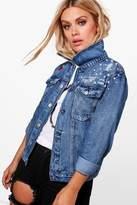 boohoo Plus Mel Boutique Pearl + Embroidered Denim Jacket