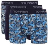 Topman Navy Floral Hawaiian 3 Pack Trunks