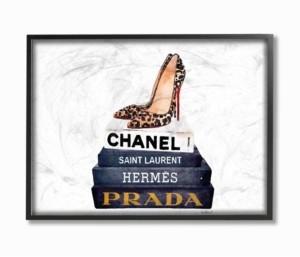 "Stupell Industries Glam Fashion Book Set Leopard Pumps Heels Framed Giclee Art, 16"" x 20"""
