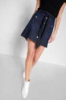 7 For All Mankind A Line Mini Skirt In Deep Blue
