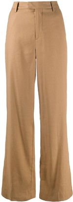 Closed High-Waisted Wide-Leg Trousers