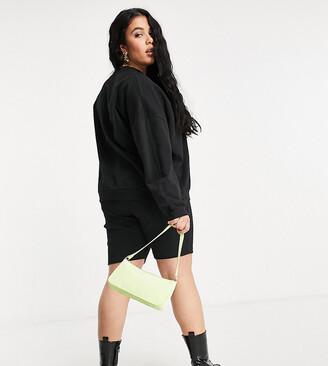 ASOS DESIGN Curve tracksuit sweatshirt / ribbed legging short in black