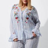 River Island Womens Plus blue stripe embroidered pyjama top